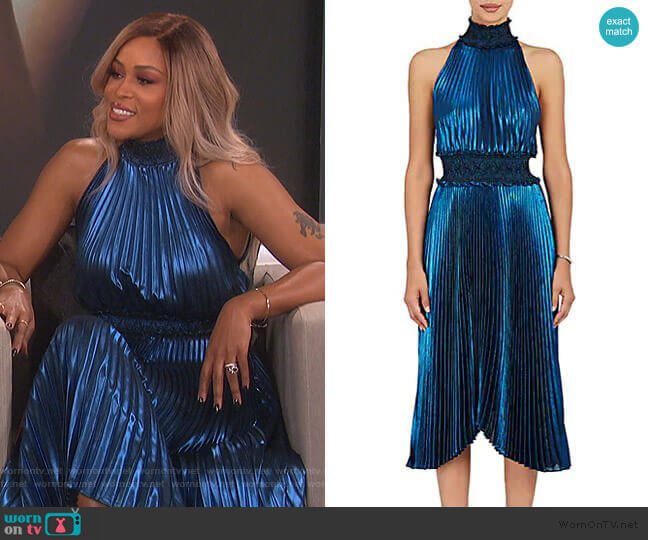 Kravitz Lamé Halter Dress by ALC worn by Eve  on The Talk