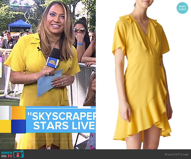 Abigail Frill Wrap Dress by Whistles worn by Ginger Zee  on Good Morning America