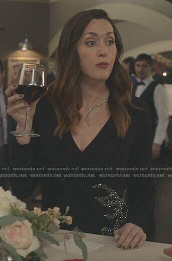 Abigail's black v-neck embellished gown on Good Witch