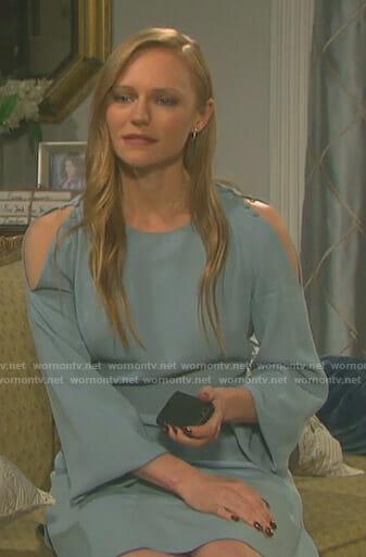 Abigail's blue cold shoulder dress on Days of our Lives