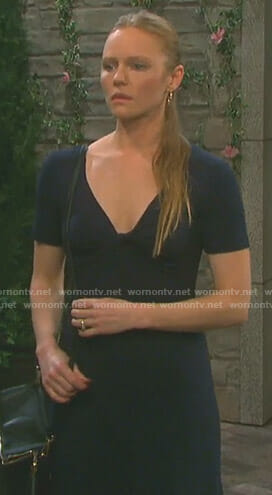 Abigail's navy knotted midi dress on Days of our Lives