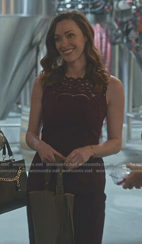 Abigail's burgundy embroidered dress on Good Witch