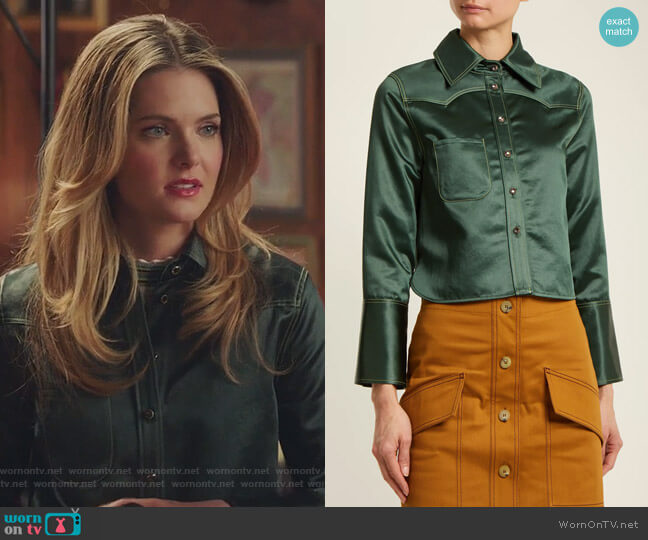 Rebecca Chinz contrast-stitch satin shirt by Acne Studios worn by Meghann Fahy on The Bold Type