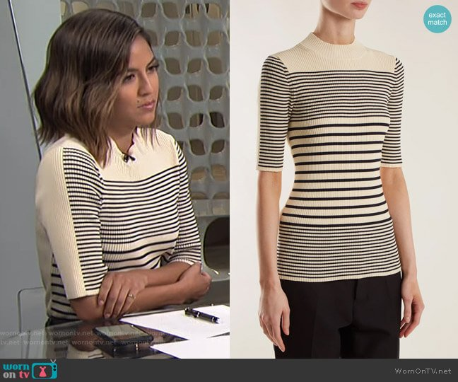 Wimna Striped Ribbed-Knit Top by Acne Studios worn by Erin Lim  on E! News