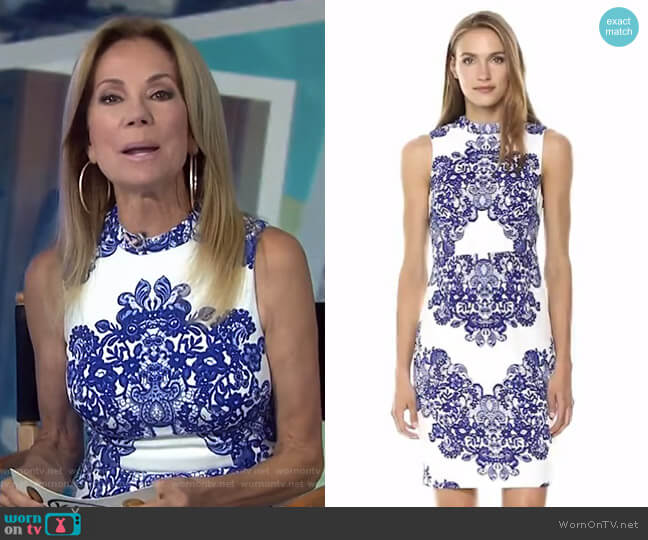 Lace Printed Mock Neck Sleeveless Dress by Adrianna Papell worn by Kathie Lee Gifford  on Today