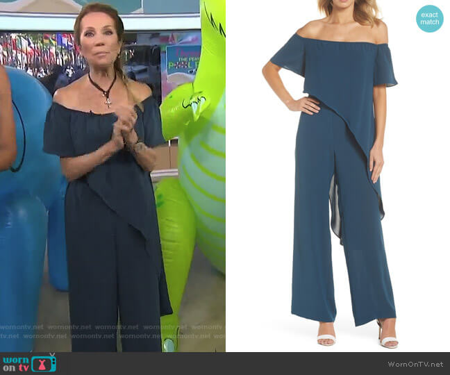 Off the Shoulder Crepe Jumpsuit by Adrianna Papell worn by Kathie Lee Gifford on Today