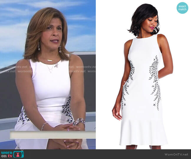Crepe Trumpet Dress with Vine Embroidery by Adrianna Papell worn by Hoda Kotb  on Today