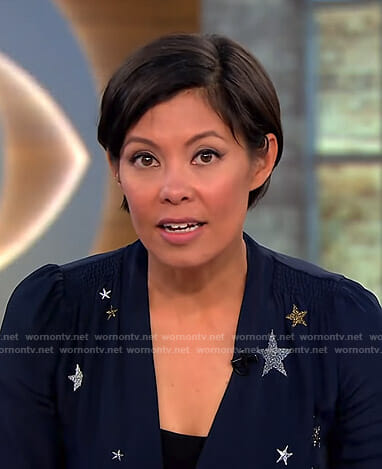 Alex's navy star embellished dress on CBS This Morning