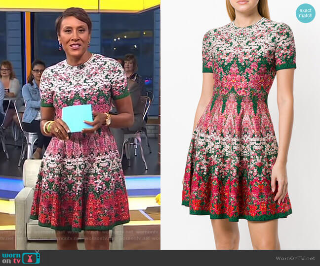 Floral Printed Dress by Alexander McQueen worn by Robin Roberts (Robin Roberts) on Good Morning America