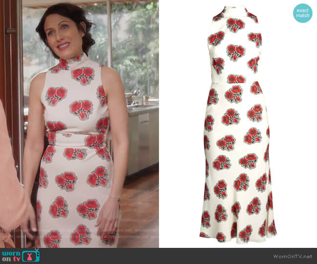 Poppy-print ruffled-back high-neck crepe dress by Alexander McQueen worn by Abby McCarthy (Lisa Edelstein) on GG2D