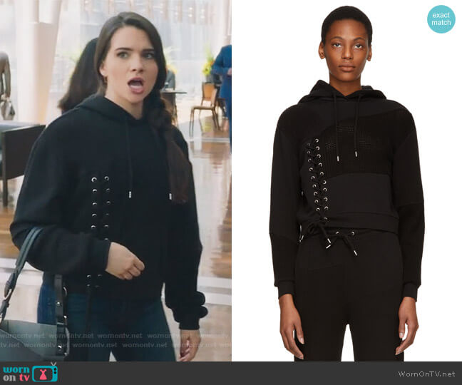 Black Lace Patched Hoodie by Alexander McQueen worn by Katie Stevens on The Bold Type