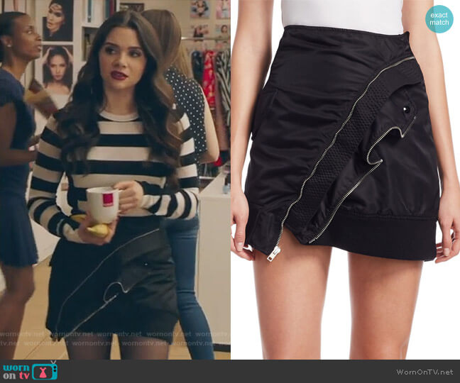 Deconstructed Bomber Miniskirt by Alexander Wang worn by Jane Sloan (Katie Stevens) on The Bold Type