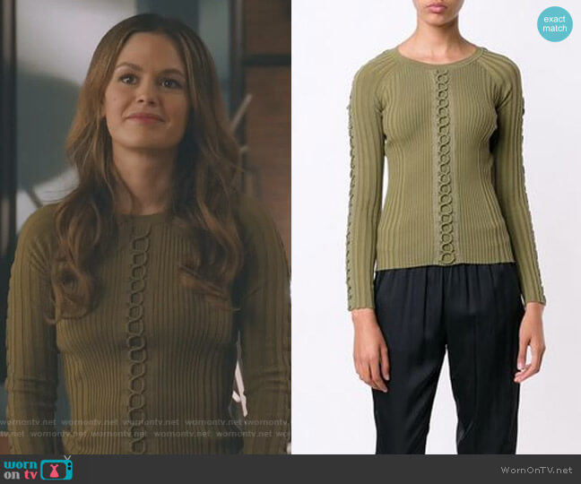 Lace-Up Detail Sweater by Alexander Wang worn by Rachel Bilson on Take Two
