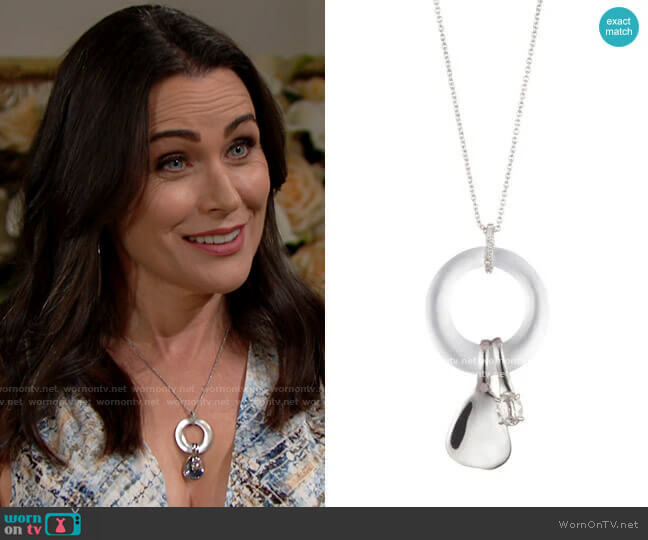 Alexis Bittar Circle Link Necklace with Liquid Metal Charms by Alexis Bittar worn by Quinn Fuller (Rena Sofer) on The Bold & the Beautiful