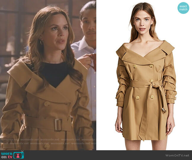 Candace Off Shoulder Trench Coat by Alice + Olivia worn by Rachel Bilson on Take Two