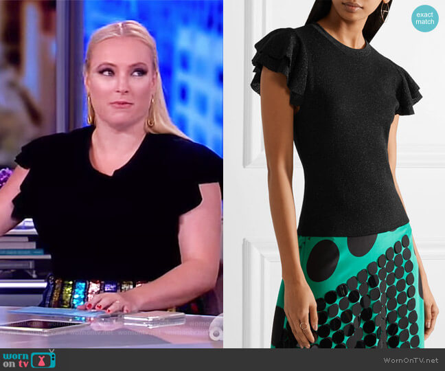 Kenia ruffled metallic wool-blend top by Alice + Olivia worn by Meghan McCain  on The View