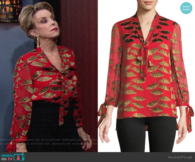 Alice + Olivia x Donald Sheila Tie-Neck Blouse worn by Gloria Abbott Bardwell (Judith Chapman) on The Young & the Restless