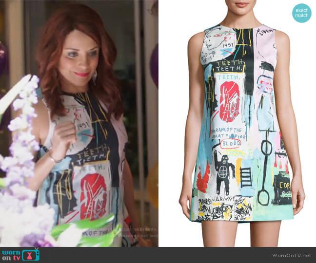 Clyde Graffiti-Print Shift Dress by Alice + Olivia worn by Alanna Ubach on GG2D