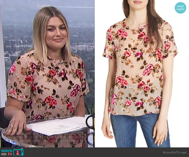 Piera Floral Burnout Tee by Alice + Olivia worn by Carissa Loethen Culiner on E! News