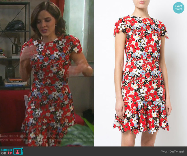 Imani Cap-Sleeve Floral Embroidered Dress by Alice + Olivia worn by Jen Lilley on Days of our Lives