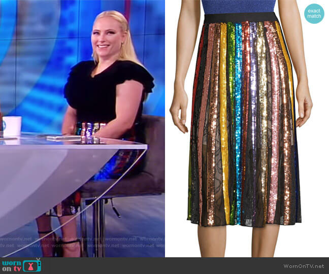 Tianna Striped Sequin Midi Skirt by Alice + Olivia worn by Meghan McCain on The View