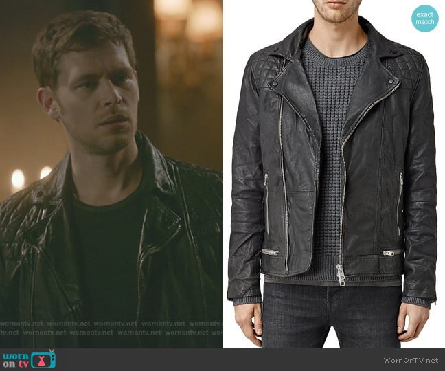 Conroy Leather Biker Jacket by All Saints  worn by Joseph Morgan on The Originals