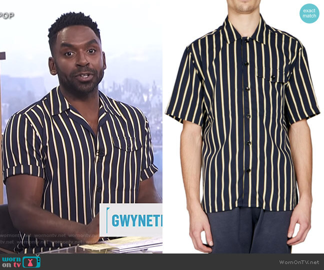 Striped Button-Front Shirt by Ami worn by Justin Sylvester (Justin Sylvester) on E! News