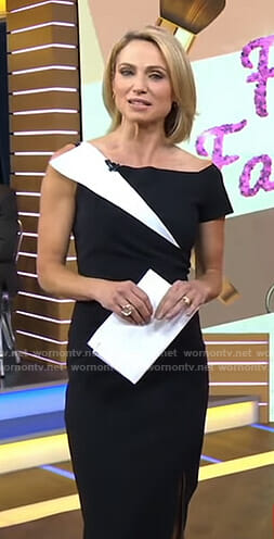 Amy's black asymmetric sheath dress on Good Morning America