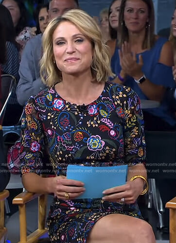 Amy's black floral mini dress on Good Morning America