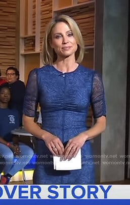 Amy's blue short sleeve lace dress on Good Morning America
