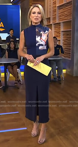 Amy's navy front slit maxi dress on Good Morning America