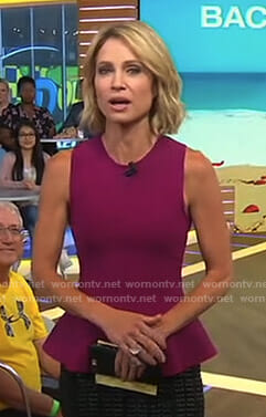 Amy's purple peplum top on Good Morning America