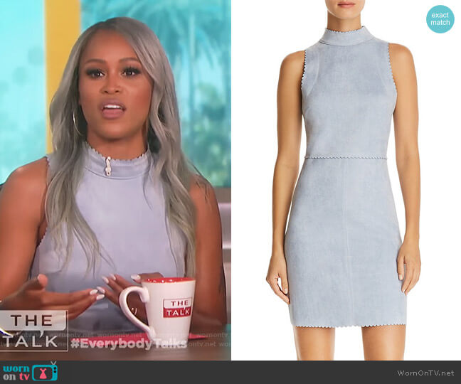 Scalloped Faux Suede Sheath Dress by Aqua worn by Eve  on The Talk