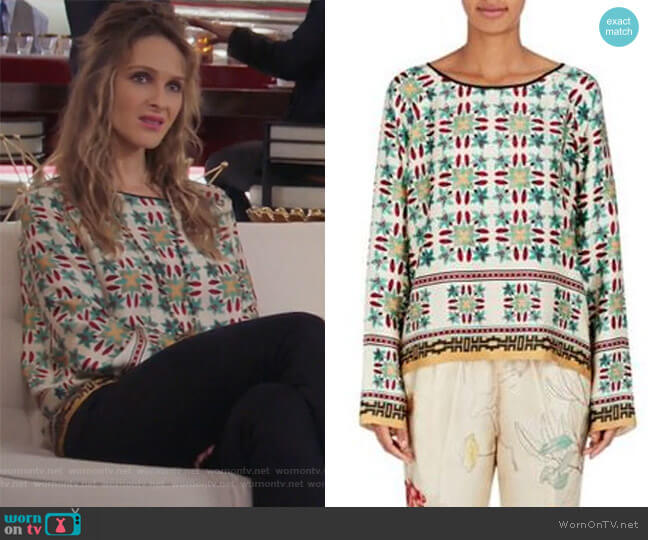 Azulejo Floral Cotton Silk Blouse by Giada Forte  worn by Phoebe Wells (Beau Garrett) on GG2D