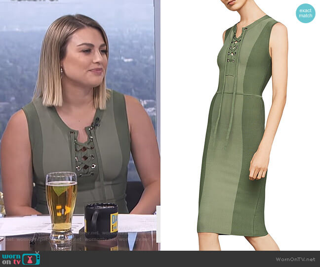 Safari Lace-Up Body-Con Dress by Bcbgmaxazria worn by Carissa Loethen Culiner (Carissa Loethen Culiner) on E! News