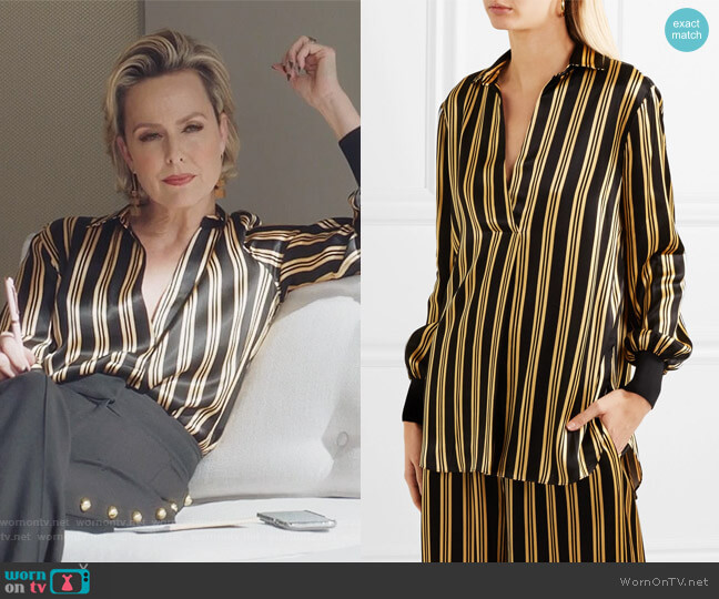 Mourci striped satin shirt by By Malene Birger worn by Jacqueline (Melora Hardin) on The Bold Type