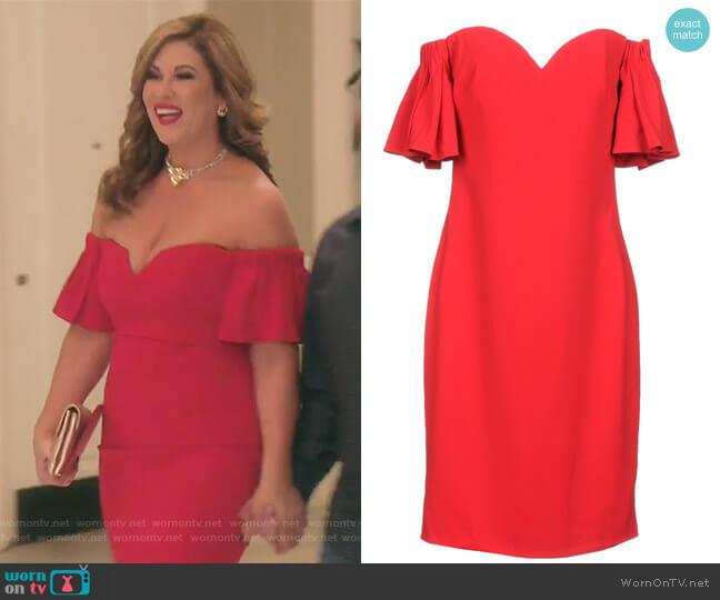 Short Dress by Badgley Mischka worn by Emily Simpson on The Real Housewives of Orange County