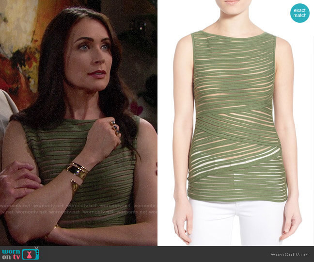 Bailey 44 Pangea Top in Olive worn by Quinn Fuller (Rena Sofer) on The Bold & the Beautiful