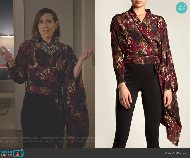 Abstract-Print Crepe de Chine Wrap Top by Balenciaga worn by Miriam Shor on Younger