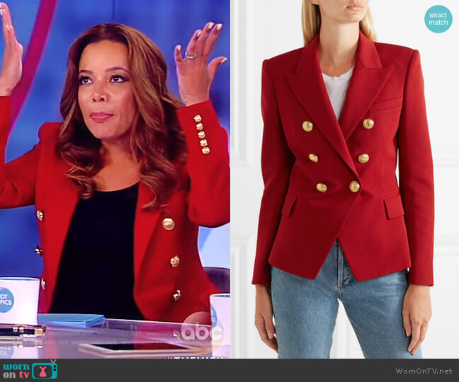 Double-breasted grain de poudre wool blazer by Balmain worn by Sunny Hostin on The View