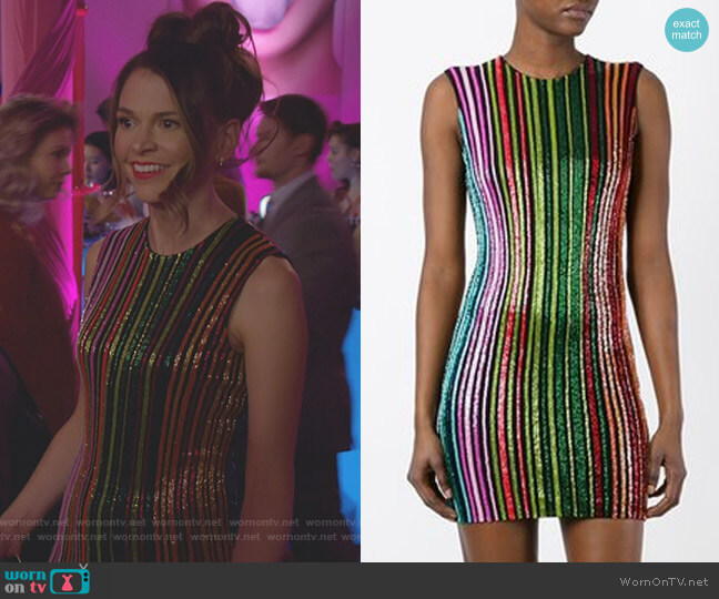 Striped Sequin Dress by Balmain worn by Kelsey Peters (Hilary Duff) on Younger