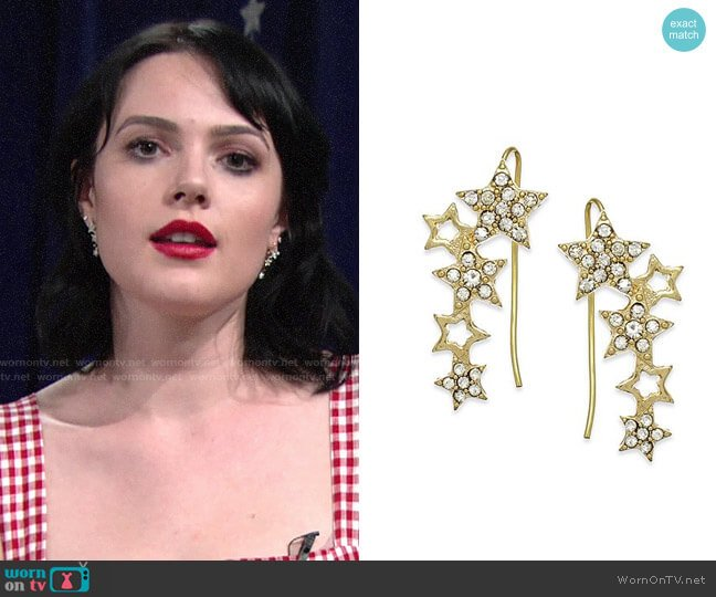 Bar III Gold-Tone Pavé Stars Ear Crawler worn by Cait Fairbanks on The Young & the Restless