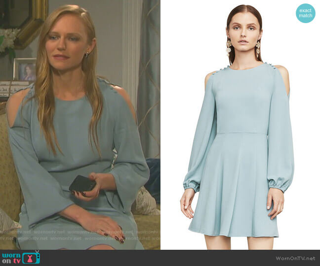 Bailey Cold-Shoulder Button-Detail Dress by Bcbgmaxazria worn by Abigail Deveraux (Kate Mansi) on Days of our Lives