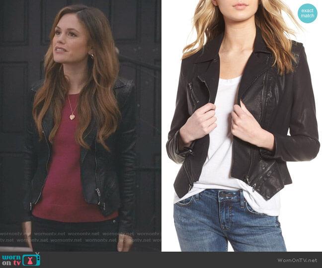 Faux Leather Moto Jacket by BlankNYC worn by Rachel Bilson on Take Two