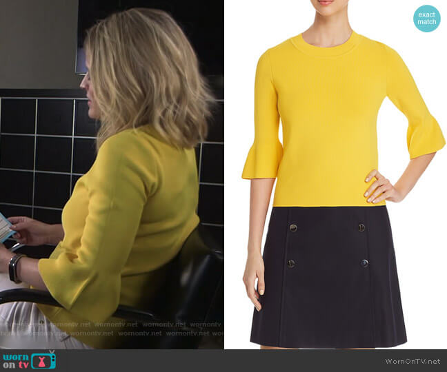 Fenella Bell-Sleeve Top by Boss worn by Sara Haines  on Good Morning America