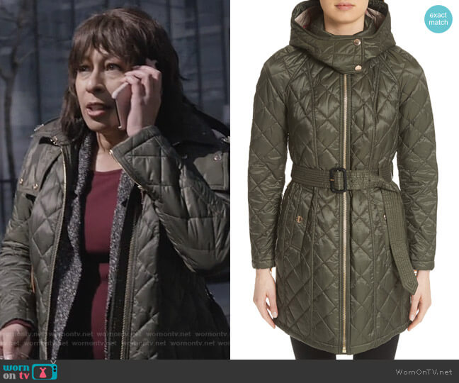 Baughton Quilted Coat by Burberry worn by Julia (Tamara Tunie) on Dietland
