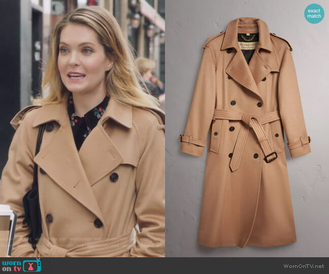 Cashmere Trench Coat by Burberry worn by Meghann Fahy on The Bold Type
