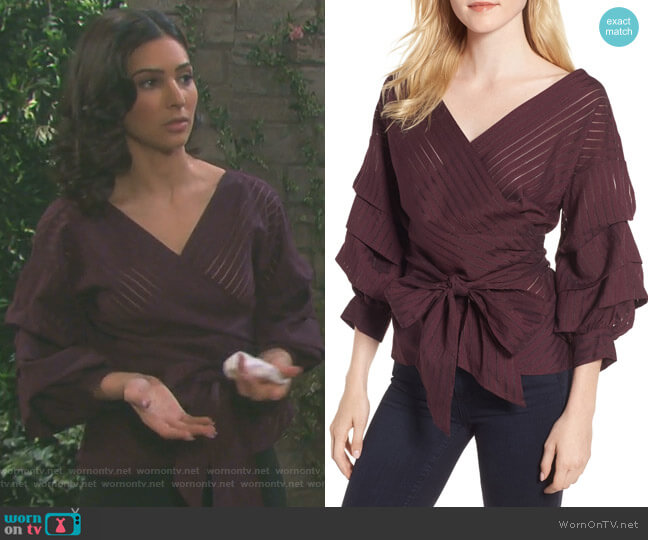 Shadow Stripe Wrap Blouse by Chelsea 28 worn by Gabi Hernandez (Camila Banus) on Days of our Lives