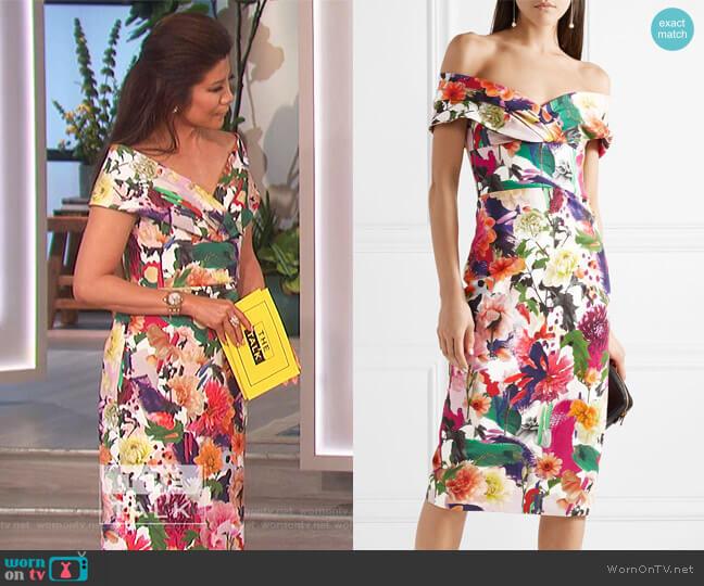 Alba off-the-shoulder floral-print stretch-cady dress by Cushnie Et Ochs worn by Julie Chen on The Talk