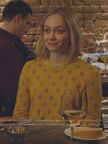 Caitlin Miller's yellow printed sweater on Younger